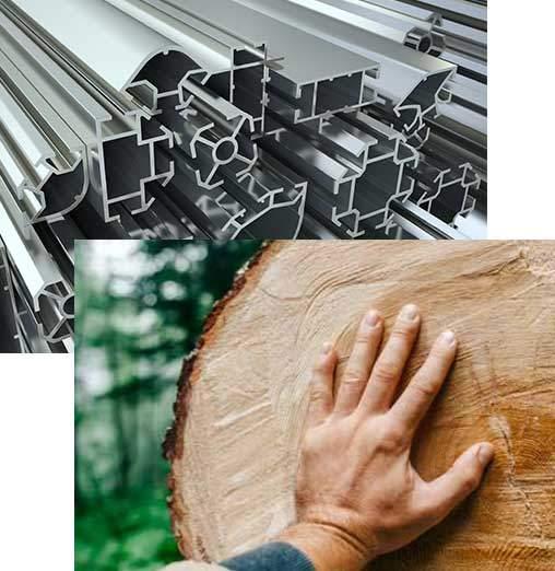 Material Alu Holz Faltwand